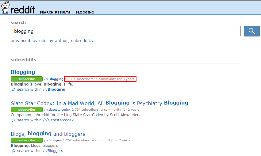 reddit.com search results blogging