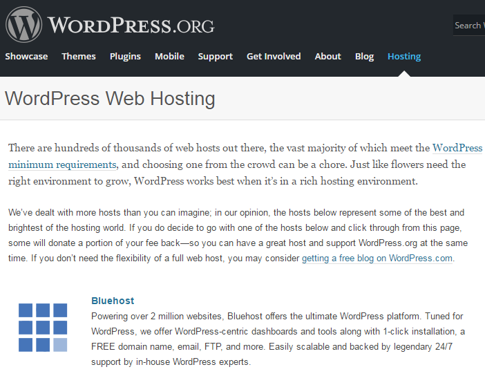 wordpress recommend bluehost hosting