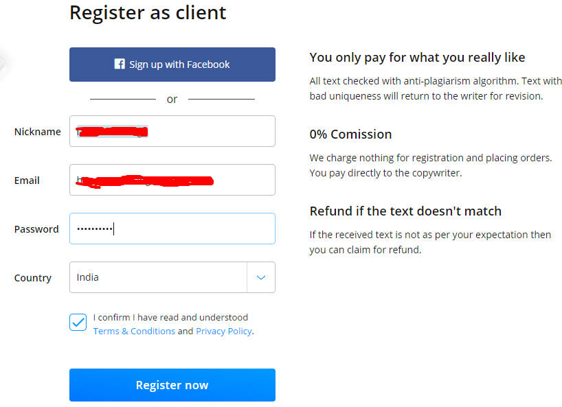 register as a clients