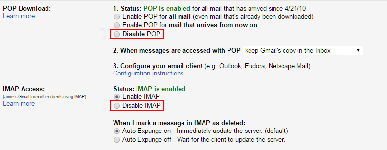 pop and imap gmail feature