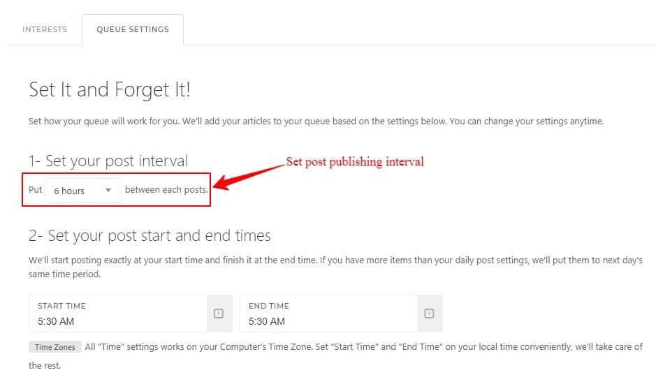 Setup publishing interval