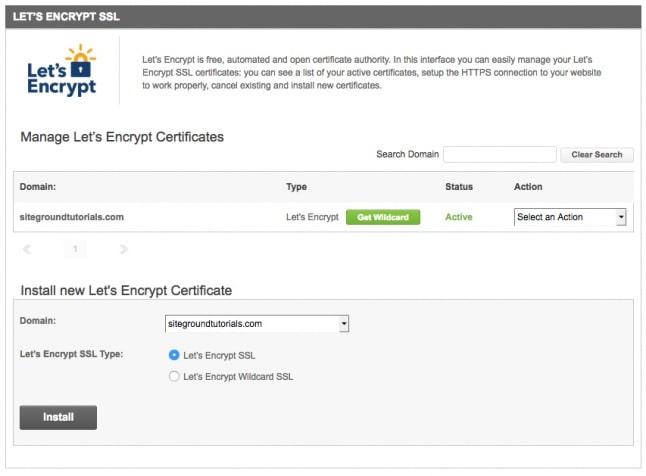 SiteGround FREE SSL Certficates