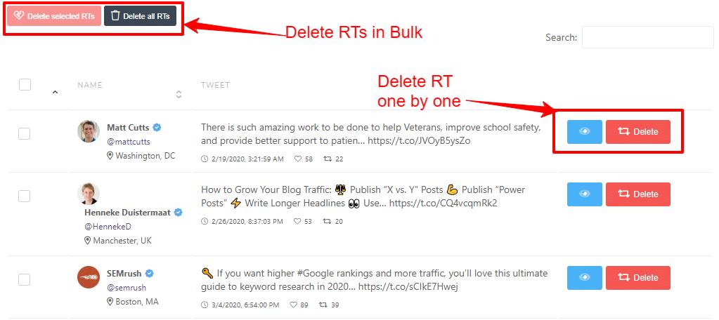 CircleBoom delete retweets