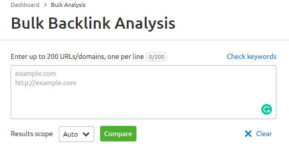 Bulk Backlink Analysis SEMrush