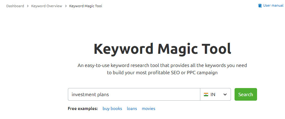 Keyword Magic Tool Investment Plan SEMrush