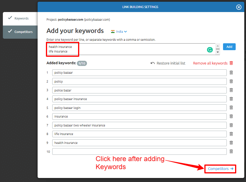 Link Building Tool Add Keywords