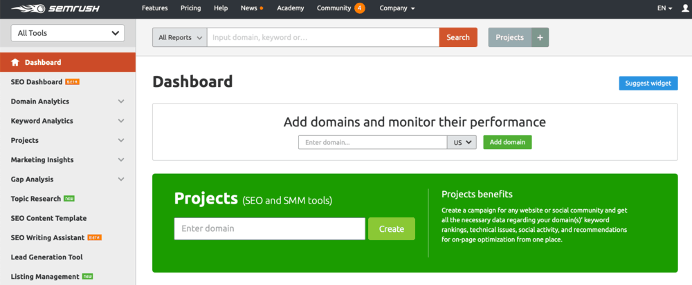 SEMrush-Home-Dashboard