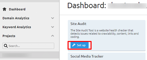 SEMrush site audit setup